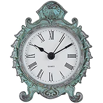 Amazon Com 6 By 6 Inch Pewter Table Clock Aqua Home