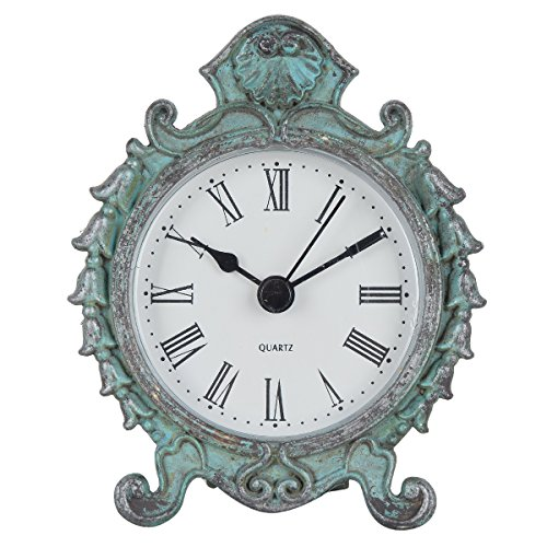 - NIKKY HOME Baroque Style Pewter Quartz Small Round Table Clock with 3.12'' by 1.35'' by 3.87'', Dark Green
