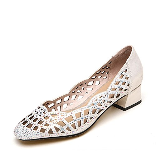 39 verano tacones Moda Mujer cm sandalias confortables tacones color 8 de Silver altos beige wIw50q