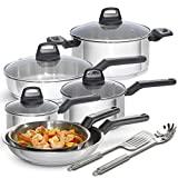 BLACK+DECKER 83385 12 Piece Durable Stainless Steel Cookware Set, Multi-Size, Silver