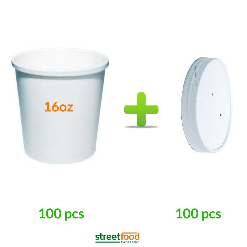 16oz White Soup Containers Bundle with Matching White Lids Fast Food Takeaways