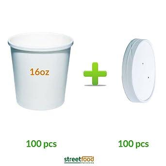 Recipiente para sopa de papel, blanco de 40,64 ml, con tapas de ...