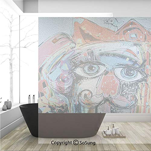 3D Decorative Privacy Window Films,Grafitti like Sketchy Colorful Painting with Human like Face Dog Animal Image,No-Glue Self Static Cling Glass film for Home Bedroom Bathroom Kitchen Office 36x36 Inc (Easy Face Painting Designs For Kids Printable)