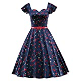 LUOUSE Women's Vintage 60's Cap Sleeve Retro Rockabilly Cocktail Party Swing Dresses