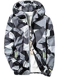 M2MO Mens Fashion Camo Zip-front Hoodie Slim Lightweight Jacket