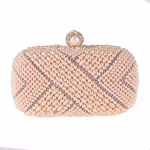 Champagne GSYDXKB Abend Party Tasche Cocktail Party Perle Tasche   Evening Bag Dress with Women's Hand Holding Pearl Small Square Bag