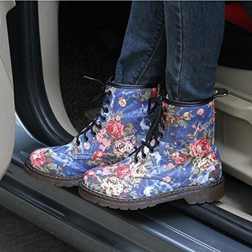 Fleurs Automne Hiver Bleu Bottes Bottes Combat de Mode de de de Cheville Femme 2017 Motifs Pour de qaWZ6awP
