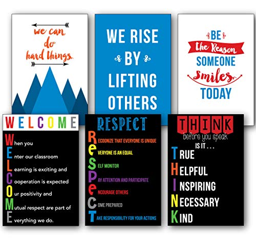 - Inspired Class - Variety 6 Pack of School Motivational, Rules and Welcome Posters Set (13