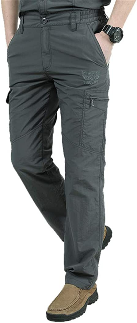 Zhaoguan Quick Dry Casual Trousers Mens Tactical Cargo Pants Male Lightweight Waterproof