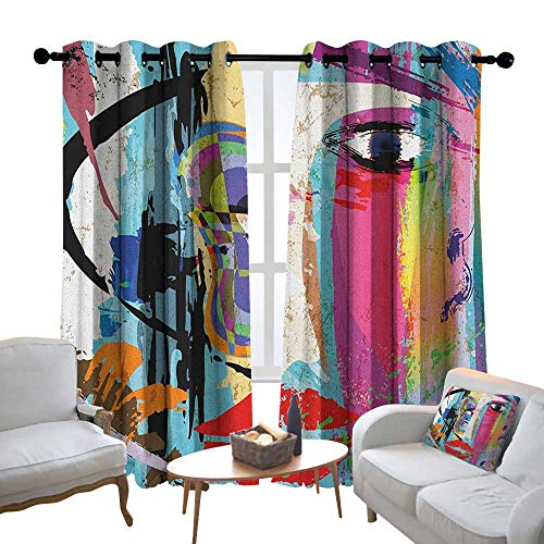 Print Curtains for Bedroom Curtain Art,Contemporary Paint Strokes Splashes Face Mask Paint Kiss Graffiti Grunge Creative Theme, Multicolor,Grommet Window Treatment Set for Living Room 52