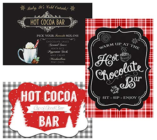 Hot Chocolate Cocoa Bar Party Supply Decorations and Invitations (Poster Decor) 3 Banners ()