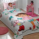 100% Cotton Kids Dora in Garden Pique Bedding Duvet Cover Set Twin Size New Licensed / Dora Kids Pique Bedspread Bedding Set 3 PCS by DHL EXPRESS