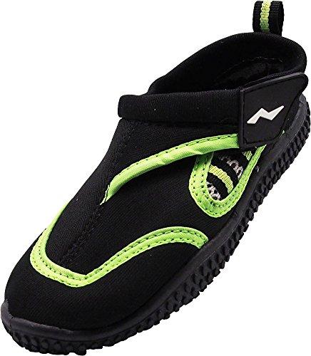 (NORTY Boys Skeletoe Aqua Water Shoes for Pool Beach, Surf, Snorkeling, Exercise Slip on Sock, Black, Lime 40318-12MUSLittleKid)