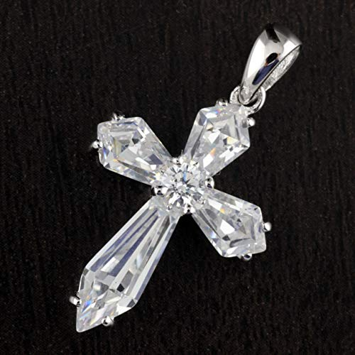 Solid 925 Sterling Silver CZ Prongs Setting 25mm Cross Pendant