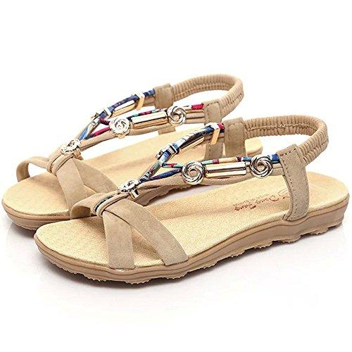 Aniywn Ladies Bohemian Sandals, Women Summer Sandals Shoes Peep-Toe Low Shoes Roman Sandals Ladies Flip Flops Beige
