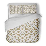 SanChic Duvet Cover Set Vintage Abstract Floral Intersecting Curved Elegant Golden Leaves and Scrolls Forming in Arabian on White Decorative Bedding Set with Pillow Sham Twin Size