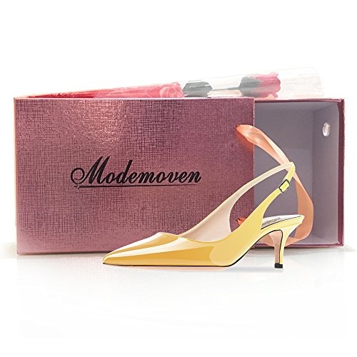 Modemoven Women's Yellow Patent Leather Pointed Toe Slingback Ankle Strap Kitten Heels Pumps Evening Stiletto Shoes - 10.5 M US by Modemoven (Image #7)