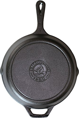 Backcountry Cast Iron Skillet (12 Inch Large Frying Pan, Pre-Seasoned for Non-Stick Like Surface, Cookware Oven/Range/Broiler/Grill Safe, Kitchen Deep Fryer, Restaurant Chef ()