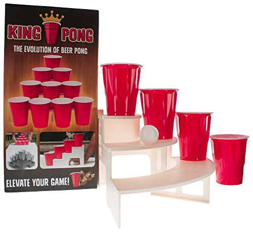 NEW! King Pong Tiered Platforms for Better Beer Pong Experience! ELEVATE a Classic Beer Pong Game to New Levels! (White OR -