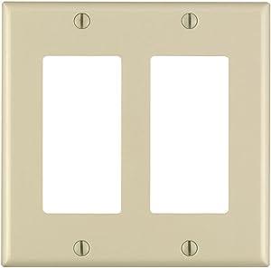 Leviton 80409-I 2-Gang Decora/GFCI Device Wallplate, Standard Size, Thermoset, Device Mount, Ivory