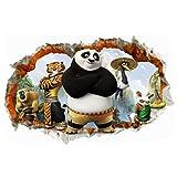 Fangeplus R DIY Removable 3D Kung Fu Panda Famous Movie Art Mural Vinyl Waterproof Wall Stickers Kids Room Decor Nursery Decal Sticker Wallpaper 23.6''x35.4''