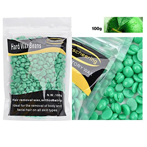 Auwer Hair Removal Hard Wax Bean Stripless Natural No Strip Depilatory Hot Film Pellet Bikini Wax For All kinds of Women and Men Skin Types 100g (A)