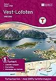 Norwegen topographische Wanderkarte Vest-Lofoten: Flakstadøy, Moskenesøya, Værøy, Røst, Reine, Moskenes, Flakstad, Fredvang, Hermannsdalstinden, Måhornet, Turkart 1:50.000