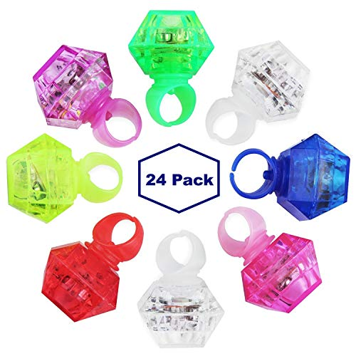 MIDAFON 24 Pack LED Glow Rings Light Up Flashing Rings Plastic Diamond Kids Play Rings Glow in The Dark Toys Bachelorette Birthday Themed Football Party