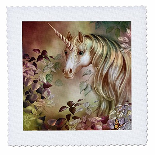 3dRose qs_11664_1 A Magical Unicorn Peers Out from a Floral Enchanted Realm in This Artwork Quilt Square, 10 by 10-Inch