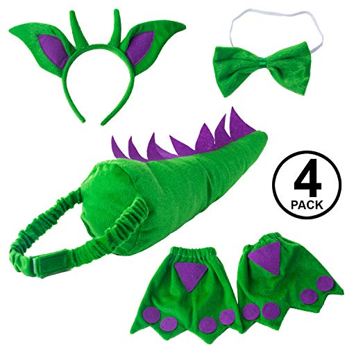 Tigerdoe Dragon Tails - Dinosaur Costume - Dino Theme Party - Dress Up - Animal Tails (Green and Purple Dragon Accessories)