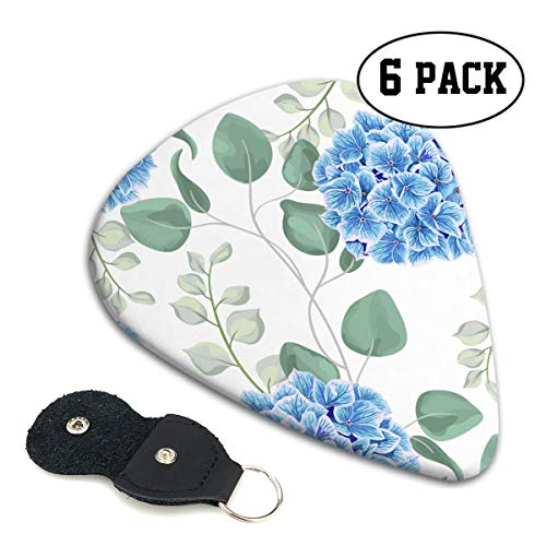 LXXTK Unique Blue Eucalyptus and Hydrangea Flowers Celluloid Guitar Pick 6 Pack - Music Gifts for Bass, Electric & Acoustic Guitars