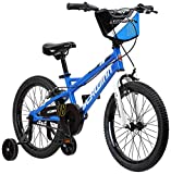 Schwinn Koen Boy's Sidewalk Bike with Training Wheels, Kickstand, Chainguard, and Number Plate, 18-Inch Wheels, Blue, Featuring SmartStart Technology - Designed to Fit Children's Proportions
