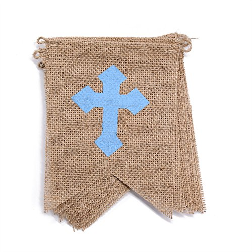 Bless Baby God Cross (dealzEpic GOD BLESS with Blue Cross for Boy's Baby Shower Party or Baptism Decoration - Rustic Burlap Banner Bunting Garlands - Swallowtail Shaped Banners - 115 inches)
