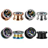 KUBOOZ Ear Plug Tunnel Gauge Stretcher Piercing Colorful Zircon Center Plating Stainless Steel Screw