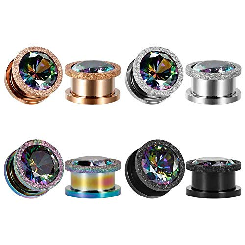 Colorful Stainless 14 Gauge - KUBOOZ Ear Plug Tunnel Gauge Stretcher Piercing Colorful Zircon Center Plating Stainless Steel Screw