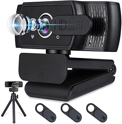 Webcam with Microphone for Desktop,1080P HD USB Webcam Live Streaming Laptop PC Computer Web Camera for Video Calling Conferencing Recording Gaming, three-D Noise Reduction