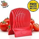tomato design - Multiuse Tomato Slicer Holder with Firm Grip Ergonomic 13 Dividers Design for Slicing Shredding Tomatoes Lemons Potatoes Round Fruits Vegetables with Bonus eBook