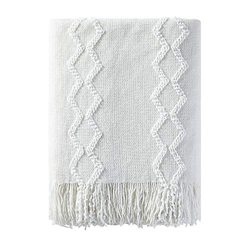"BOURINA Fluffy Chenille Knitted Fringe Throw Blanket Lightweight Soft Cozy for Bed Sofa Chair Throw Blankets, 50"" x 60"",White"