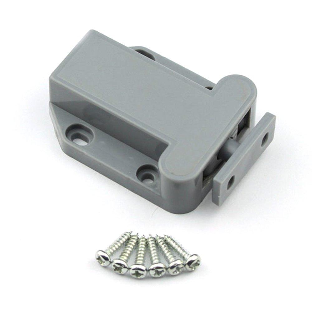 Pulsador amortiguador de sistema de apertura para armario, puerta, armario, cierre magné tico, presió n de tornillo (gris) cierre magnético presión de tornillo (gris) GEZICHTA