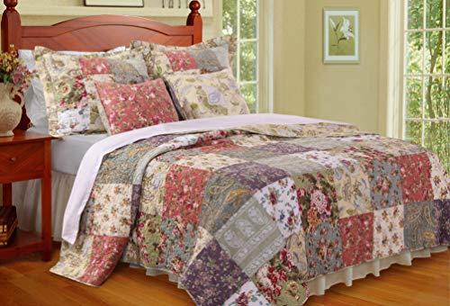 Greenland Home 4-Piece Blooming Prairie Quilt Bonus Set, Twin