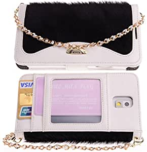 Boilfish,Samsung Galaxy Note 3,PU Leather,Wallet,Chain,Folio Flip Cover Case,Black