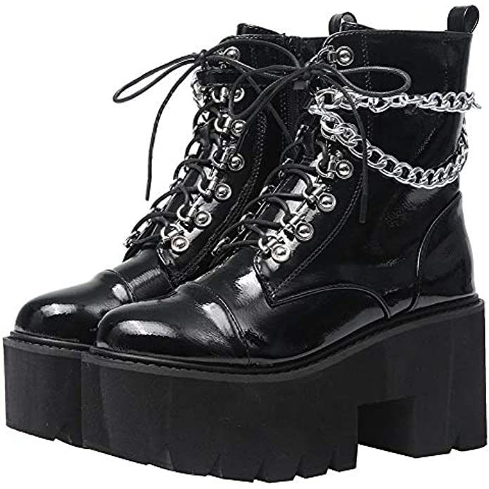 CYNLLIO Fashion Block Heel Platform Combat Ankle Booties Women's Lace up Studded Motorcycle Boots Mid Calf Boots
