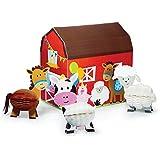 Creative Converting Farmhouse Fun Centerpiece with 3D Barn & Honeycomb Animals (4 Piece)