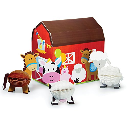 Farm Animals Party Supplies (Creative Converting Farmhouse Fun Centerpiece with 3D Barn & Honeycomb Animals (4 Piece))