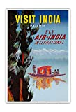 Pacifica Island Art Visit India - Kashmir - Fly Air India International - Vintage Airline Travel Poster c.1950 - Master Art Print - 13in x 19in