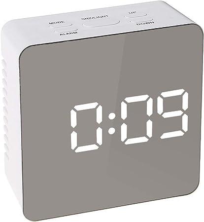 Yangyme Reloj Decorativo Reloj Digital con Espejo LED, Relojes de termómetro de Escritorio con Alarma 12H / 24H, luz Blanca: Amazon.es: Hogar