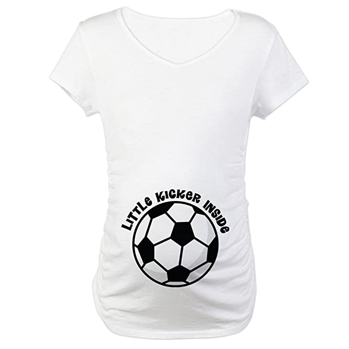 97e17a24 CafePress Soccer Ball Belly Print Cotton Maternity T-Shirt, Cute & Funny  Pregnancy Tee