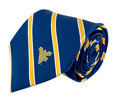 NCAA West Virginia Mountaineers Mens Woven Silk Thin Stripe Collegiate Logo Tie 2, Blue and Gold, One Size ()