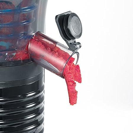 SEVIR ES 3569 Exprimidor a Baja Velocidad Incluye Accesorio para Fruta Helada, 150 W, negro y acero inoxidable
