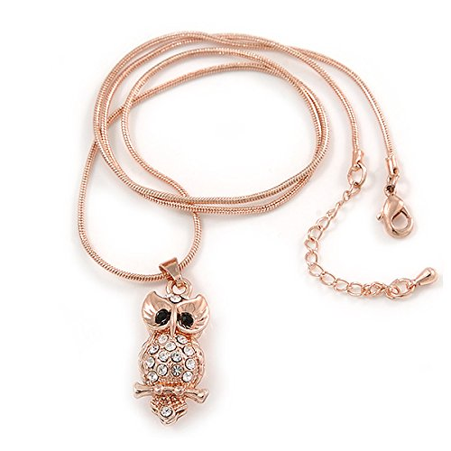 Claro/Negro Crystal búho colgante con cadena tipo serpiente en tono de oro rosa Metal–44cm L/4cm